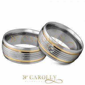 Aliança de aço inox abaulada com pedra | Frisos | 2 Filetes de ouro | 8 mm | Par
